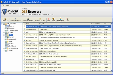 Recover OST to PST screenshot